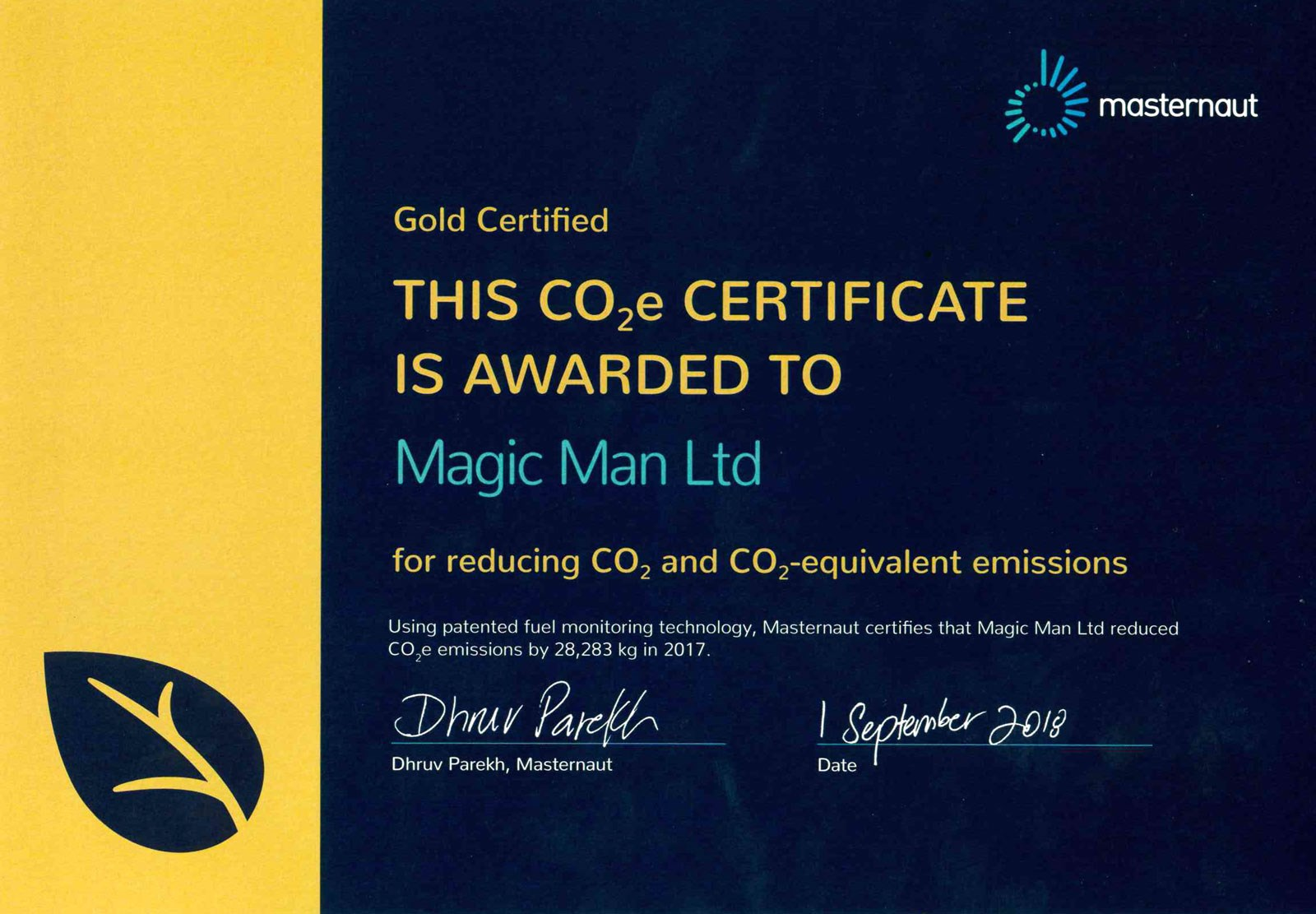 CO2 emissions reduction certificate